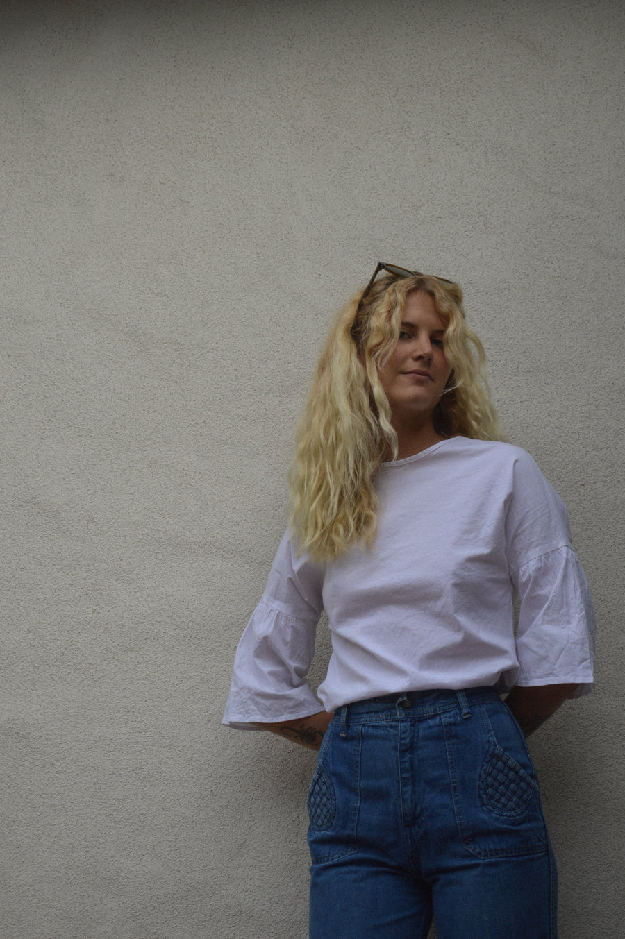 Vintage White Bell-Sleeve Blouse || Boho Clothing, Vintage Clothing, Aesthetic Clothing, 70s Style, 70s Clothing, Bell Sleeves, 70s Blouse