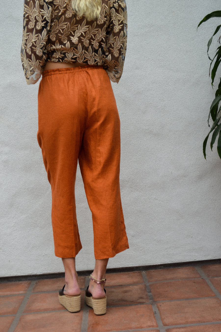 Sienna Orange Bohemian Linen Pants || bohemian clothing, beach clothing, comfy pants, hippie pants, linen pants, boho clothing, aesthetic
