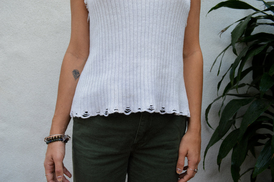 White Flowy Eyelet Knit Tank Top || Knit top, boho clothing, aesthetic clothing, hippie clothing, white top, womens tank tops,