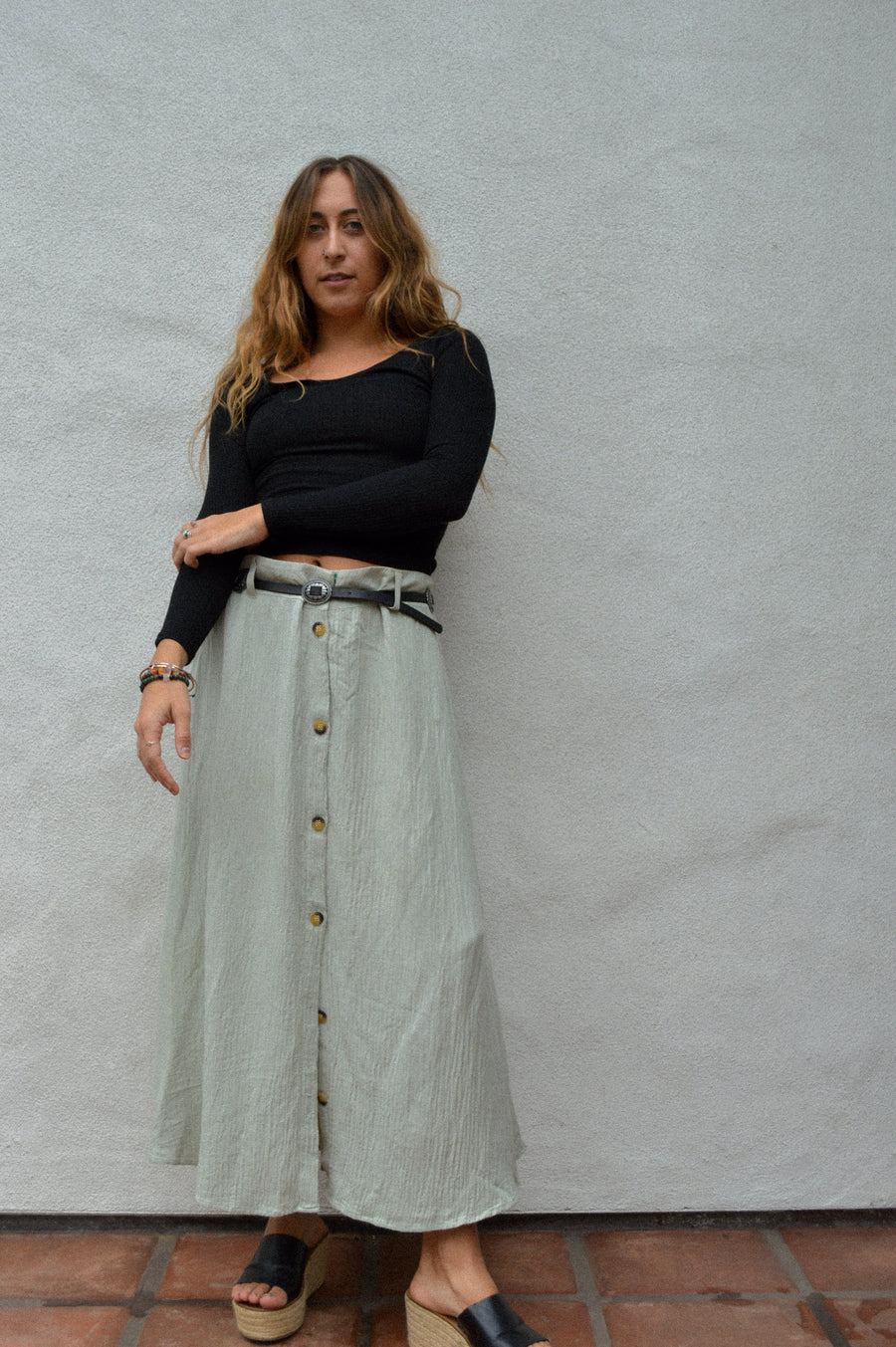 Flowy Sage Button-down Skirt || bohemian, boho style, hippie style, flowy skirt, vintage skirt, buttons, casual skirt, green, aesthetic