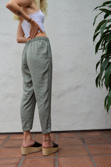 Olive Green Cuffed Pants || aesthetic clothing, bohemian style, boho, hippie style, comfy pants, casual pants, fun pants, silky smooth
