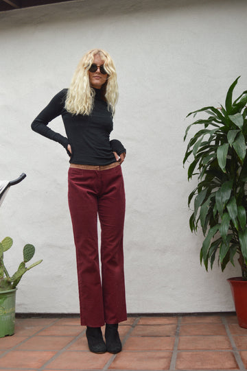 Burgundy Corduroy Pants with Suede Detailing || Aesthetic Clothing, Boho Clothing, Corduroy Pants, Suede Detailing, Burgundy, 70s clothing
