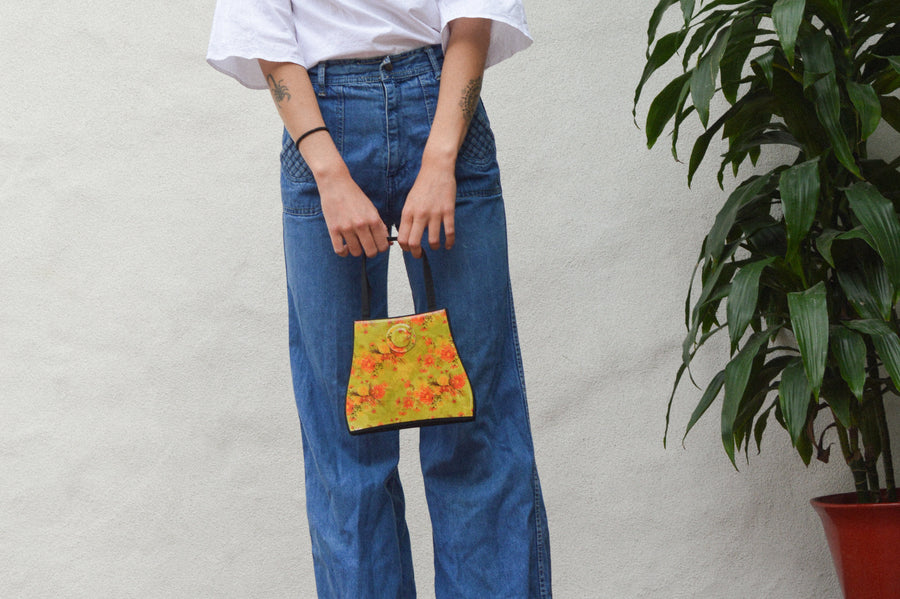 Bright Floral Top Handle Bag || Aesthetic Clothing, Retro Clothing, Boho Clothing, Mod Clothing, 70s Bag, 90s Bag, Aesthetic Bag, Retro bag