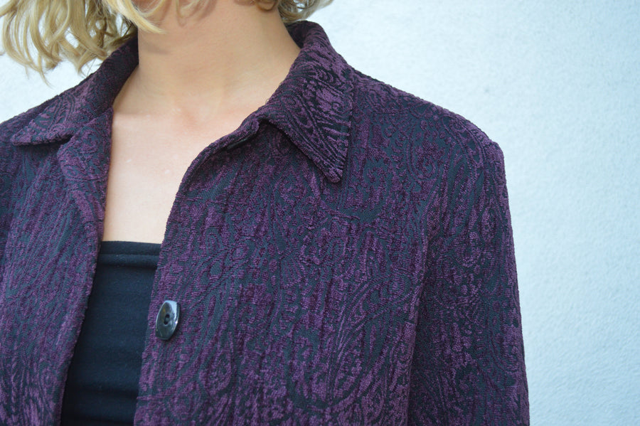 Purple textured vintage boho jacket || vintage coat, festival clothing, aesthetic clothing, boho clothing, purple floral jacket, unique