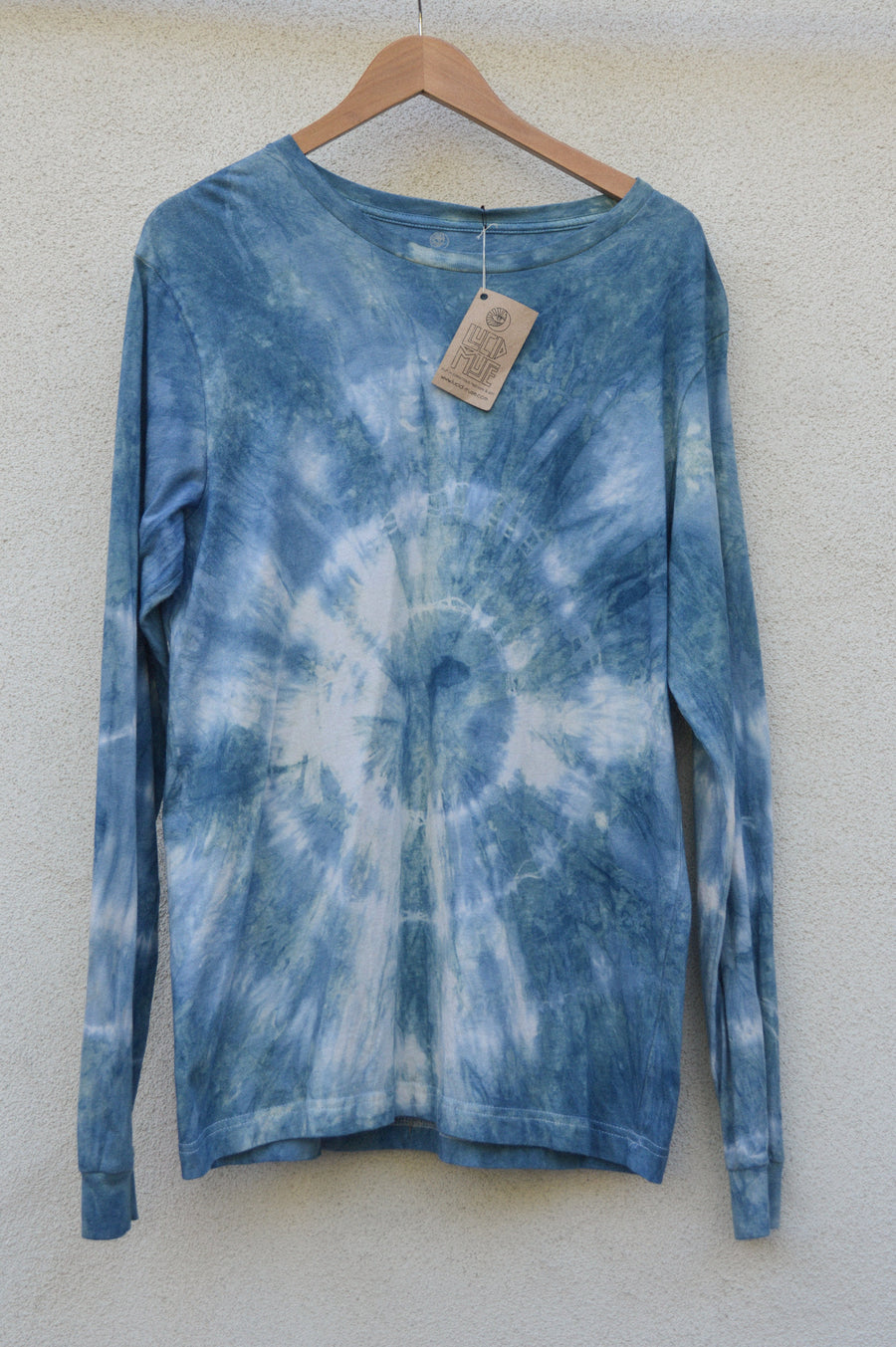Indigo Ripples Naturally Dyed Long Sleeve Tee || gift for her, natural dye, tie dye, tye dye, eco friendly, sustainable, shibori, boho