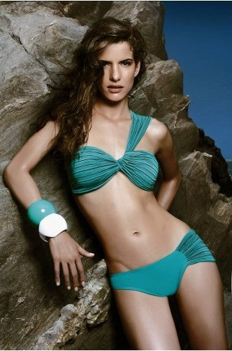 Green Pleated Designer Bikini - IBL Fashion