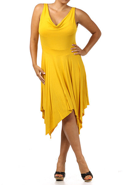 PLUS SIZE DIVA Sleeveless Asymmetrical Hem Dress with Cowl Neck - IBL Fashion