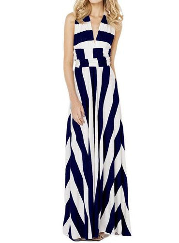 Sexy Halter Bold Striped Maxi Dress - IBL Fashion