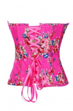Fashion Floral Denim Corset Pink - IBL Fashion - 2