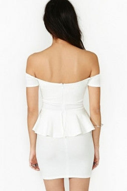 White Off-the-shoulder Peplum Dress - IBL Fashion - 2