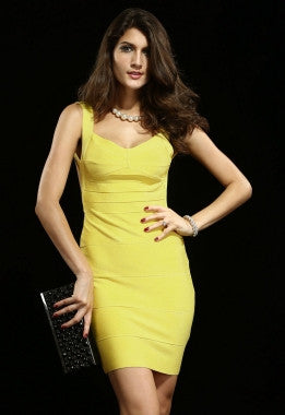 Celebrity Style Blunging Backout Bandage Dress-Yellow - IBL Fashion - 2