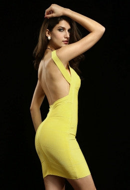 Celebrity Style Blunging Backout Bandage Dress-Yellow - IBL Fashion - 3