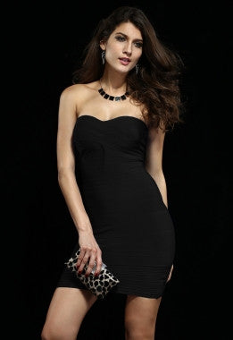 Celebrity Style Bandeau Bandage Dress with Pleat-Black - IBL Fashion - 1