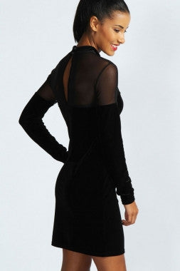 Black Velvet Sweetheart Neck Bodycon Dress 2998 - IBL Fashion - 2