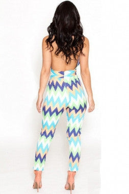 Colorblast Chevron Print Backless Jumpsuit  LC6420 - IBL Fashion - 2
