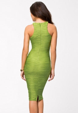 Racer Top Textured Bodycon Dress-Green 6510-1 - IBL Fashion - 2