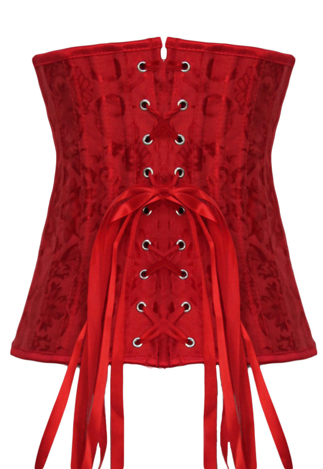 Red Jacquard Underbust Waist Trainer Corset with 24 Bones - IBL Fashion - 2