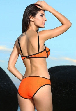 Ribbon Trim Textured 2PC Bikini Swimwear 40962 - IBL Fashion - 2