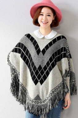 Fringe Batwing Patterned Poncho Pullover - IBL Fashion - 2