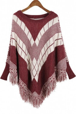 Fringe Batwing Patterned Poncho Pullover - IBL Fashion - 4