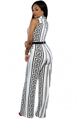 Decorative Print Sleeveless Gold Belt Jumpsuit 64021 - IBL Fashion - 4