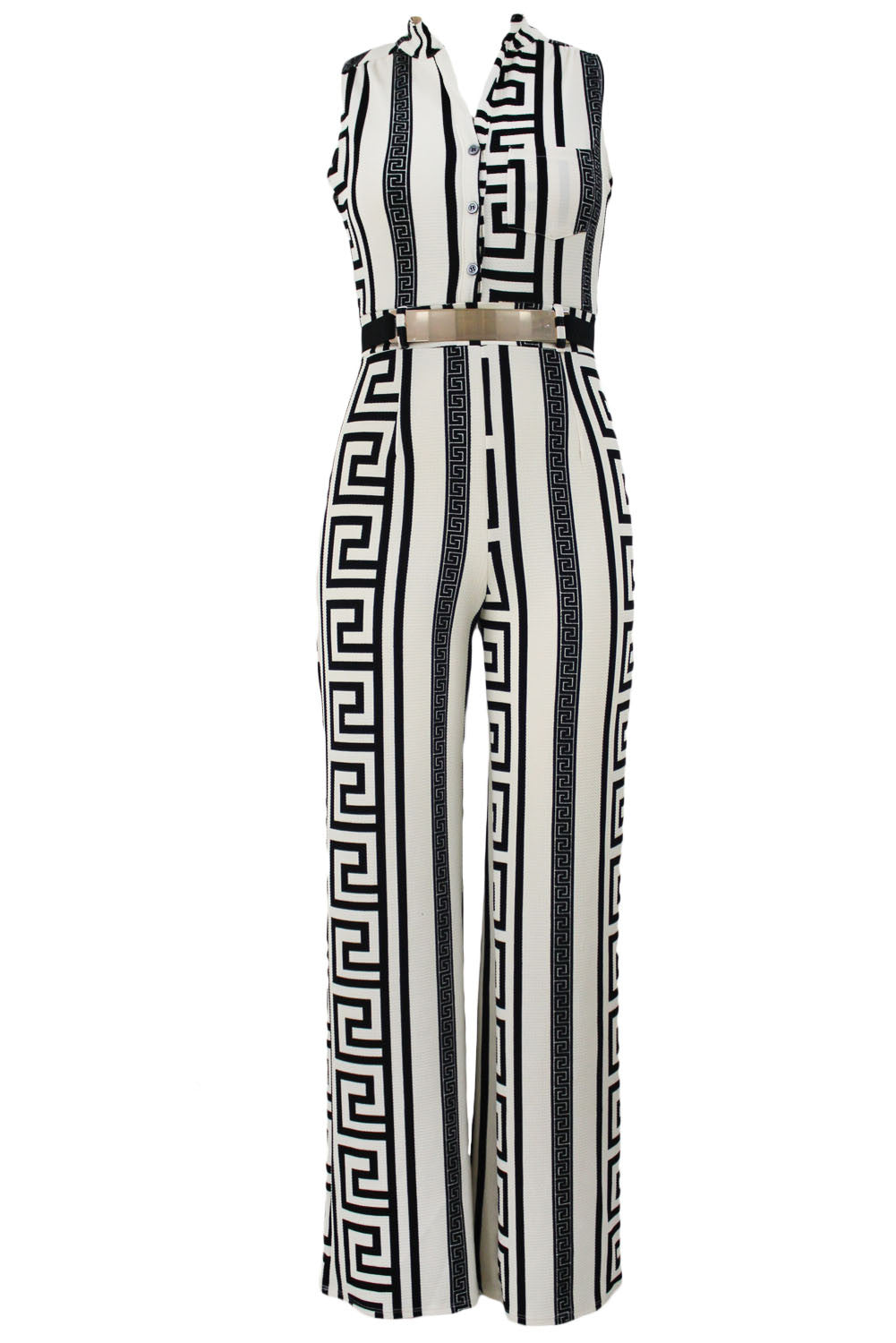 Decorative Print Sleeveless Gold Belt Jumpsuit 64021 - IBL Fashion - 3