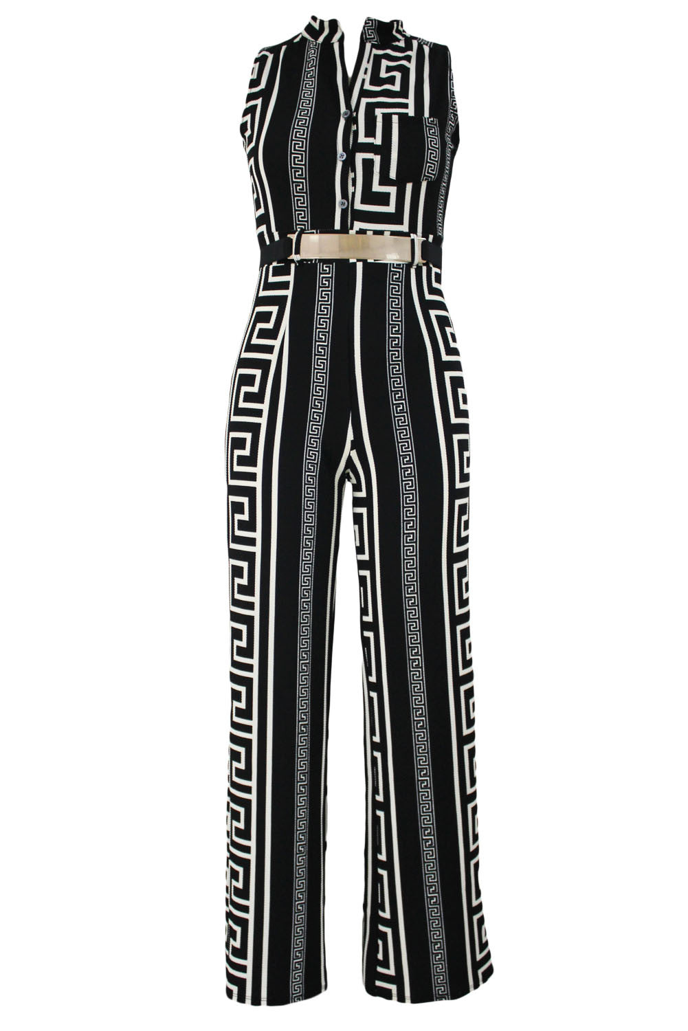 Decorative Print Sleeveless Gold Belt Jumpsuit 64021 - IBL Fashion - 7