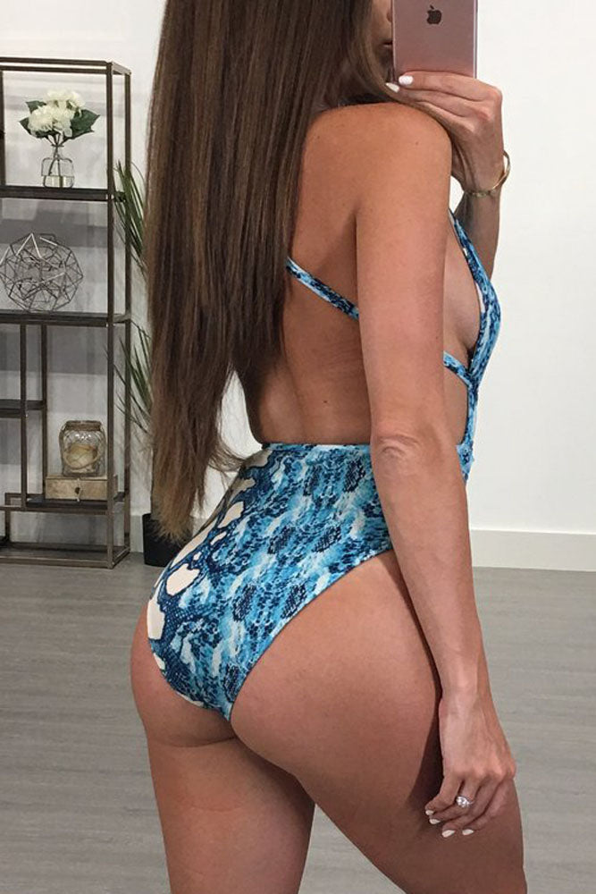 Blue Snakeskin Print 2Pc Teddy Swimsuit and Cover Up Set
