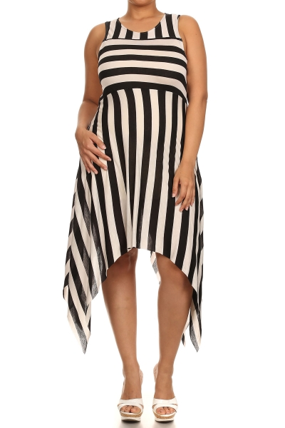 PLUS SIZE DIVA Striped Asymmetrical Hem Dress - IBL Fashion - 1