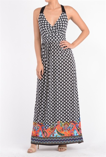 Black and White Print Maxi Dress with X Back and Color Detail Bottom - IBL Fashion