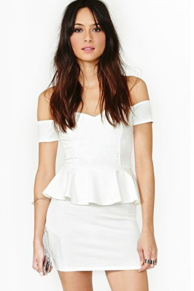 White Off-the-shoulder Peplum Dress - IBL Fashion - 1