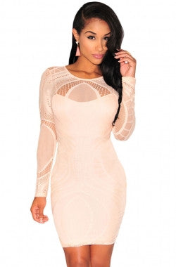 Lace Overlay Illusion Long Sleeves Bodycon Dress - IBL Fashion - 10