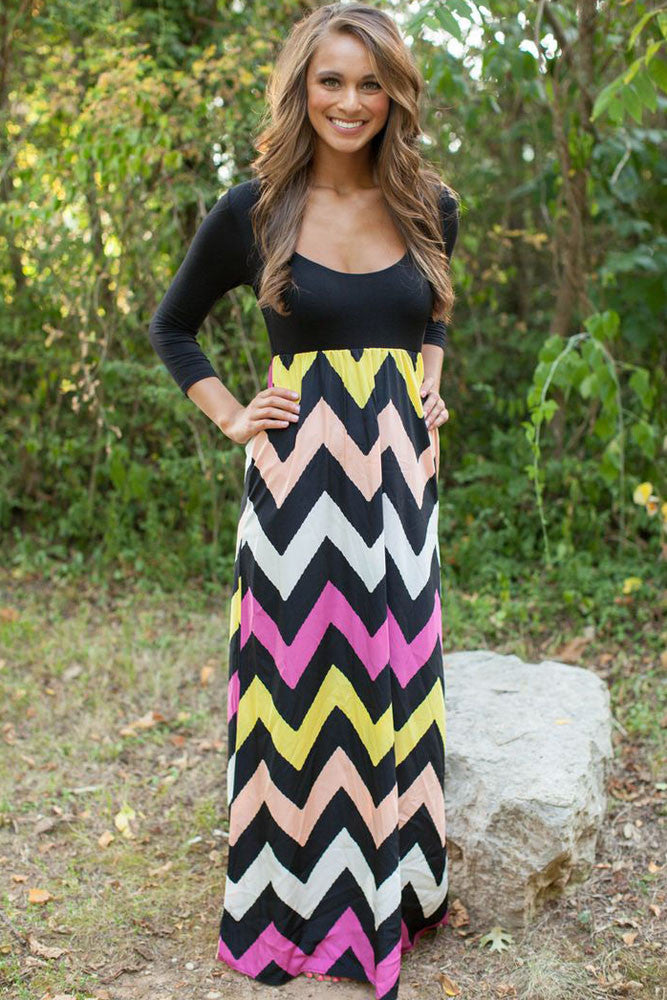 Chevron Print Maxi Dress-Black Top Pink Black - IBL Fashion - 1