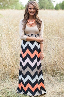 Chevron Print Maxi Dress-Beige Top Black Peach - IBL Fashion - 1