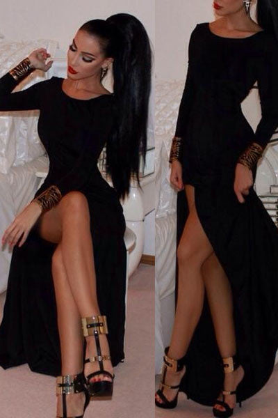 Celebrity Style Fashion Long-Sleeve Maxi Dress LC6840 - IBL Fashion - 1