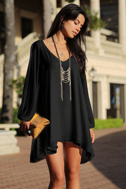 Black Free Flowing Long Sleeve V-Neck Chiffon Dress - IBL Fashion - 1