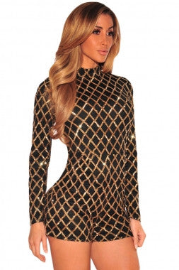 Diamond Sequins Long Sleeves Romper 64189 - IBL Fashion - 8