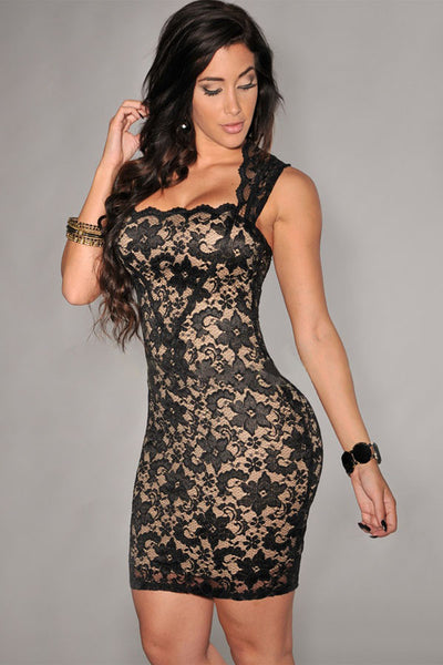 Lace Nude Illusion Dress - IBL Fashion - 1