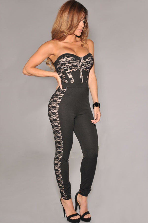 Black Lace Nude Illusion Jumpsuit  LC6790 - IBL Fashion - 1