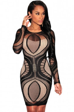 Lace Overlay Illusion Long Sleeves Bodycon Dress - IBL Fashion - 1