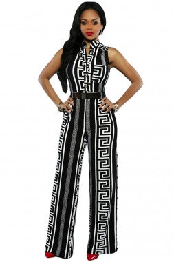 Decorative Print Sleeveless Gold Belt Jumpsuit 64021 - IBL Fashion - 2