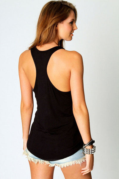 Rhinestones Cross Racer Back Tank Top - IBL Fashion - 3