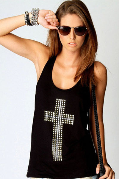 Rhinestones Cross Racer Back Tank Top - IBL Fashion - 1