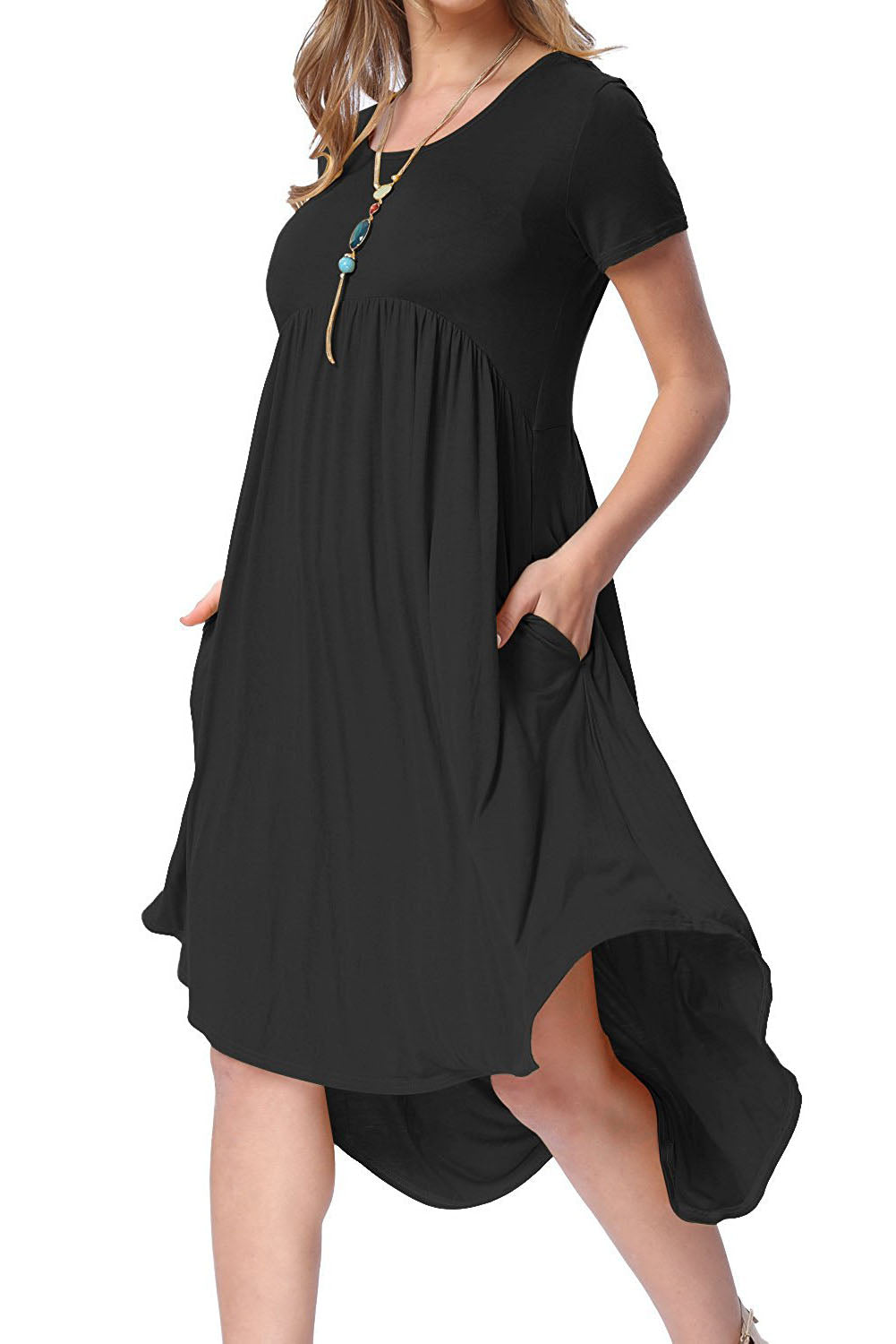 Short Sleeve High Low Pleated Casual Spring Dress