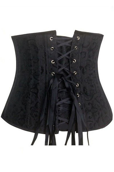 Black Jacquard Underbust Waist Trainer Corset with 24 Bones - IBL Fashion - 1