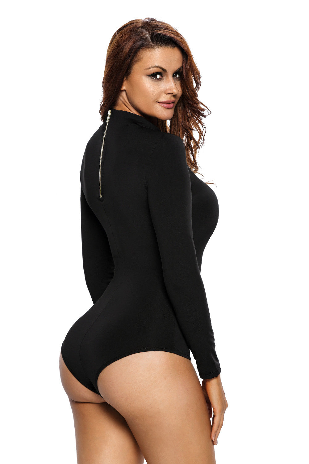 Stretchy Turtleneck Long Sleeve Bodysuit