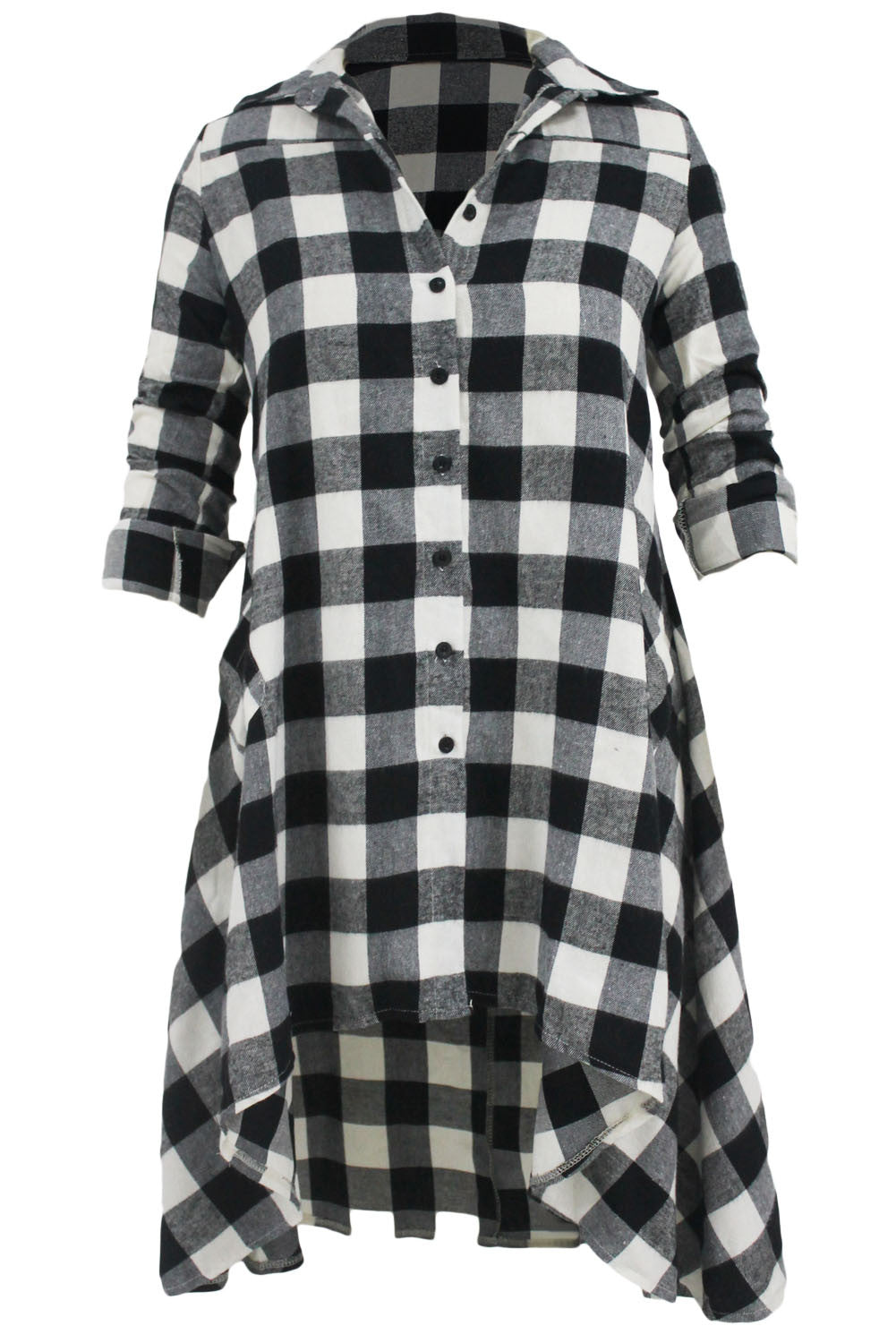 Plaid Flared High Low Shirt Dress - IBL Fashion - 4
