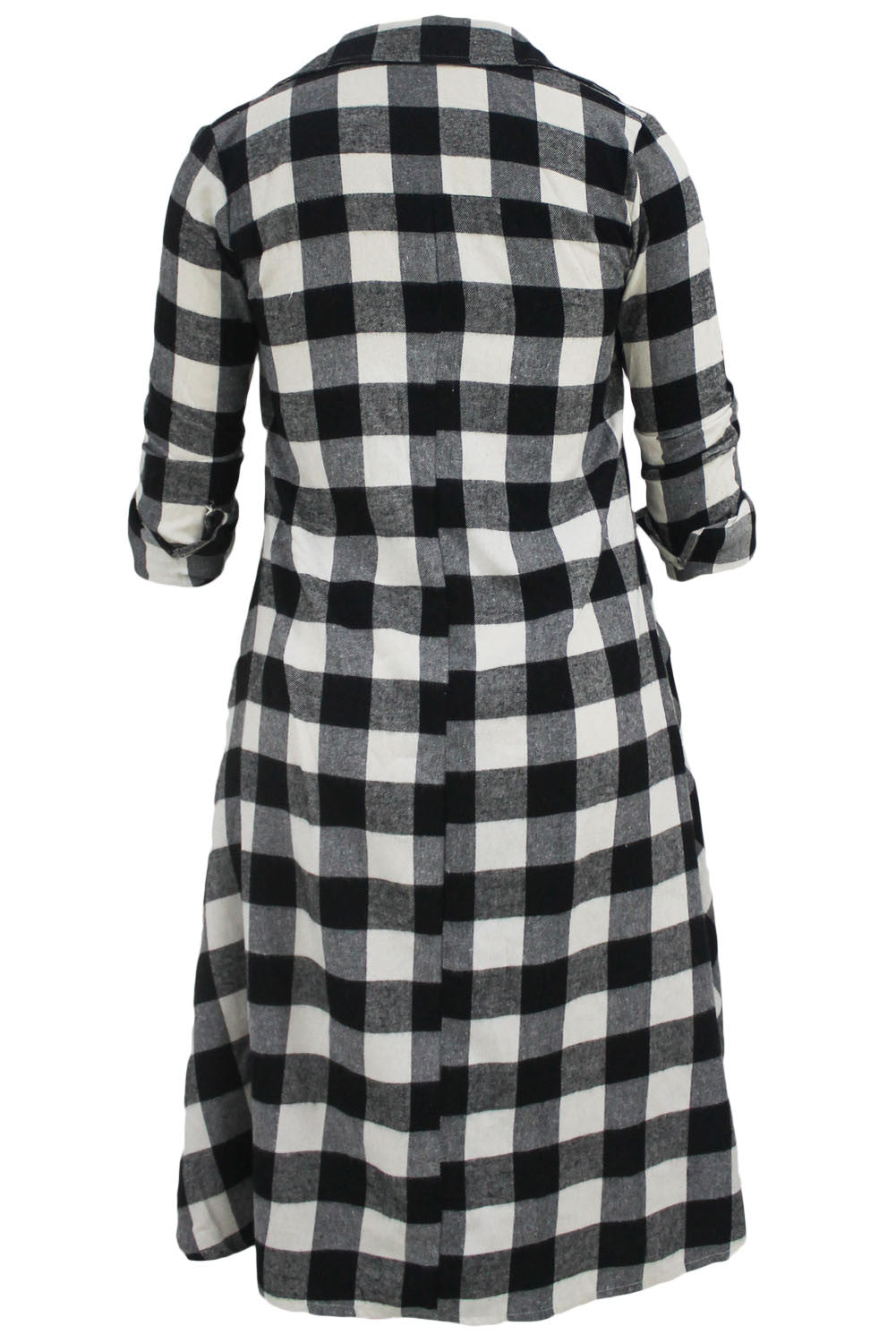 Plaid Flared High Low Shirt Dress - IBL Fashion - 5