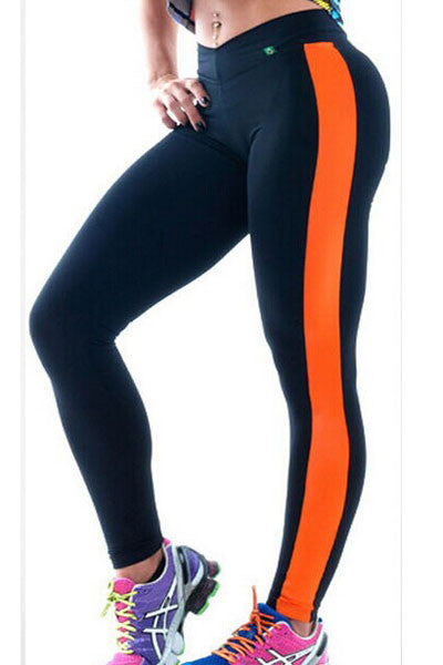 Yoga Pants with Leatherette Side Panel - IBL Fashion - 1
