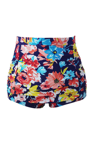 Mix and Match Retro Printed High Waist Swimsuit(Bottom Only)